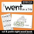 "Interactive Sight Word Reader ""I Went on a Trip"""
