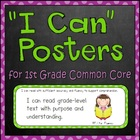 """I can"" Objective Posters for Common Core Standards (First Grade)"