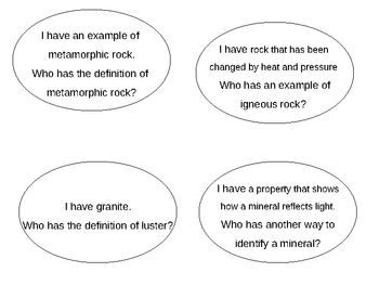 I have, Who Has -Rocks and Minerals Flashcards Kagan Strategy