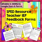IEP Case Manager Teacher Feedback Form