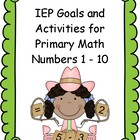 IEP Goals for Primary Math Numbers 1-10