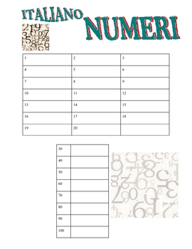 ITALIAN - I numeri (Numbers with key)