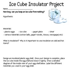 Ice Cube/Plastic Egg Insulator Science Lab