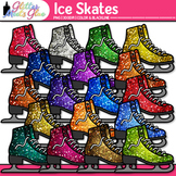 Ice Skates Dipped in Glitter Clipart - Celebrate School Sp