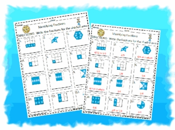Identifying Fractions Activity Worksheet