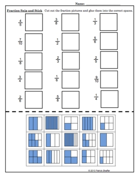 Identifying Fractions Snip & Stick - Math Pictures Worksheet