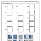 Identifying Fractions and Decimals Snip and Stick Math Worksheets