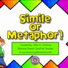Identifying Simile or Metaphor Lesson SMART Notebook