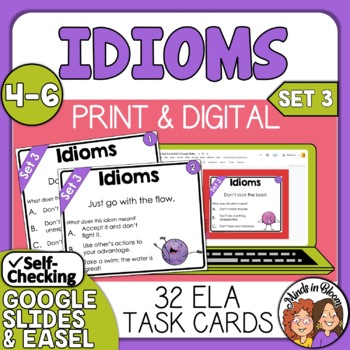 Idioms Task Cards Set 3: 32 Multiple Choice Cards for CCS