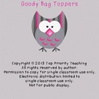 I&#039;ll Owl-ways Remember You Goody Bag Toppers
