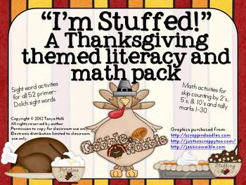 I'm Stuffed! A Thanksgiving Themed Literacy and Math Pack