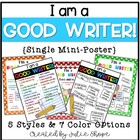 """I'm a GOOD WRITER because..."" Single Poster"