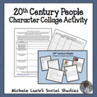 Important 20th Century People Character Collage Activity w/bios