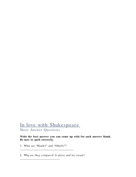 In Love With Shakespeare