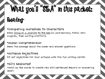 In a Snap Ocean Themed Reading Activities