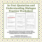 In-text Quotation and Dialogue Worksheet