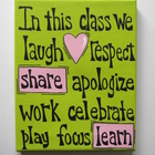 In this class...we laugh..Hand Painted Canvas Classroom Si