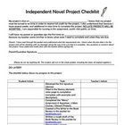 Independent Novel Project Parent Information and Signature Page