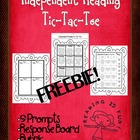Independent Reading Reflection Choices- Tic Tac Toe  Freebie!