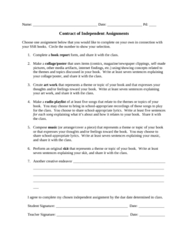 Independent Reading/SSR Resources: Contract of Assignments