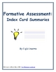 Index Card Questions/Summaries Formative Assessment Template