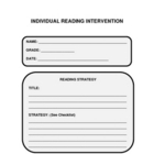 Individual Reading Intervention Graphic Organizer