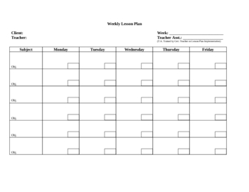Individualized Weekly Lesson Plan Format