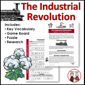 Industrial Revolution Worksheet Activity, Answer Key, Common Core