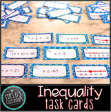Inequality task cards: solving inequalities & graphing on