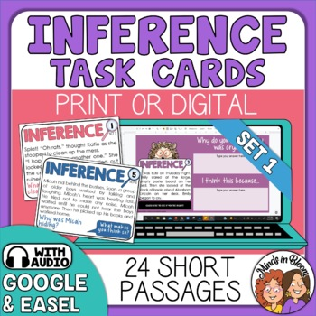 Inference Task Cards: 24 Cards with Short Stories and Questions.