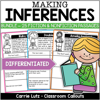 Inferring Bundle 24 Fiction/Non-Fiction Mini Passages w/Di