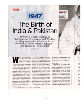 Informational Article - The Birth of India and Pakistan