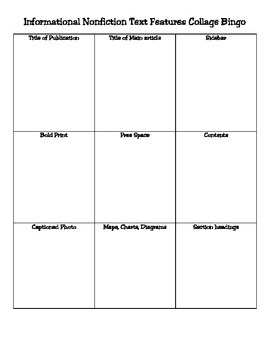 Informational Nonfiction Text Features Collage Bingo Revie