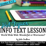 Informational Text Close Reading Hot Topics {Internet Safety}