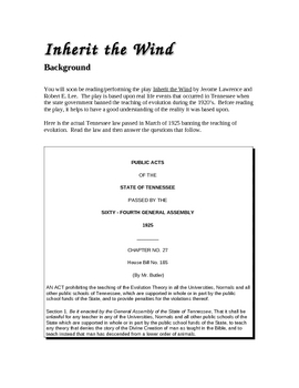 Inherit the Wind - Introduction and Background lesson