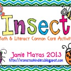 Insects Math &amp; Literacy Common Core Activities