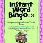 Instant Word Bingo #3