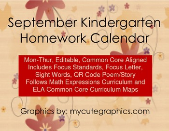 September Mon-Thur. Common Core Kindergarten Homework Calendar