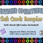 Integer Operations Task Cards with QR Codes Sampler FREEBIE