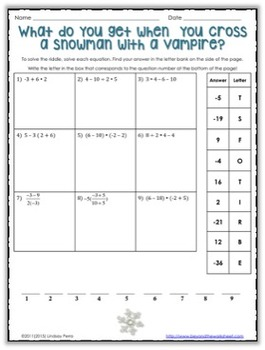 Integer Order of Operations Winter Riddle Worksheet