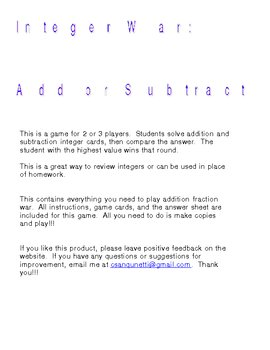 Integer War: Add and Subtract