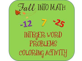 Integer Word Problems (Adding & Subtracting) Color Sheet