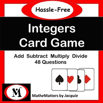 Integers - Add, Subtract, Multiply, Divide  / Activity