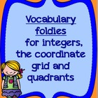 Integers and Coordinate Grid VOCABULARY FOLDIES PACK