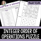 Integers and Order of Operations Puzzle Worksheet