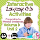 Interactive Language Arts Notebook for SECOND Mentor Sente