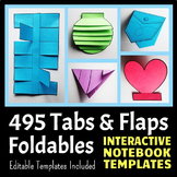 Interactive Notebook Templates - Tabs & Flaps Pack - 495 T