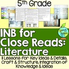 Interactive Notebook for Close Reads of Literature: 5th Grade