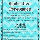Interactive Reading Notebook: All About Characters ( Spanish )