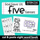 "Interactive Sight Word Reader ""God Gave Us FIVE Senses"""